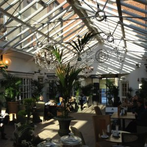 photo of the cafe in the angel hotel courtyard