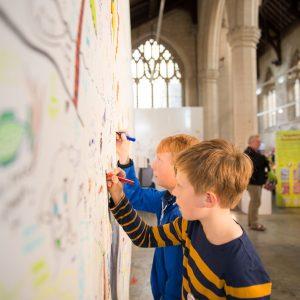 photo of kids doing art in St Johns Church